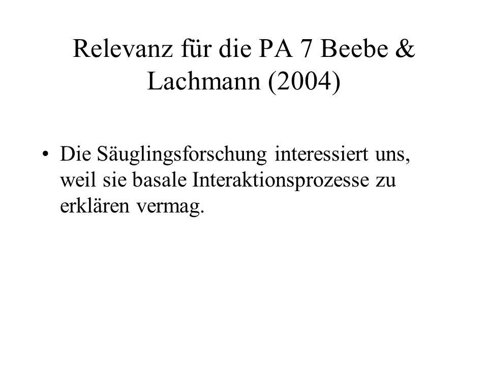 Relevanz für die PA 7 Beebe & Lachmann (2004)