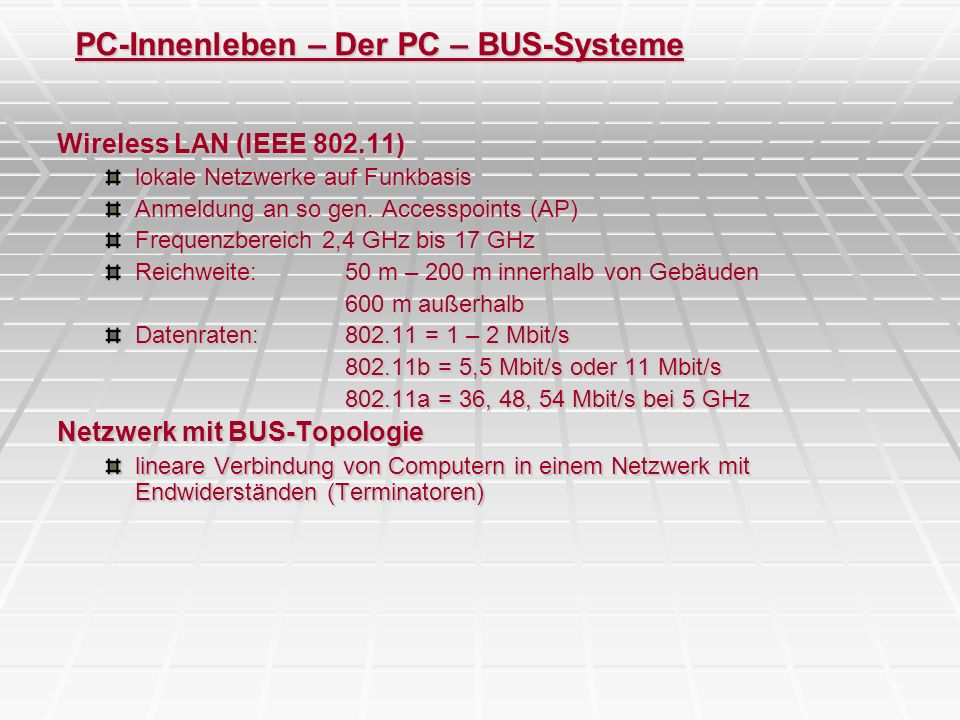 PC-Innenleben – Der PC – BUS-Systeme
