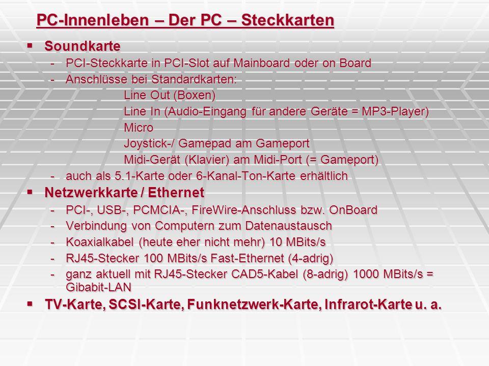 PC-Innenleben – Der PC – Steckkarten