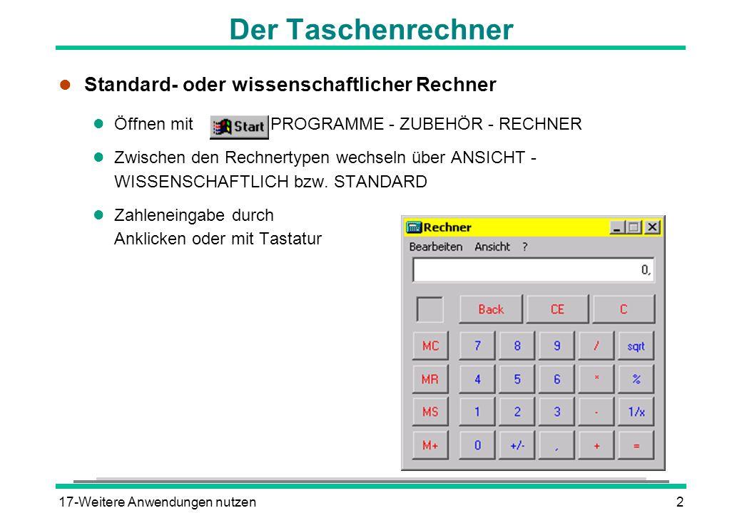 Der Taschenrechner Standard- oder wissenschaftlicher Rechner