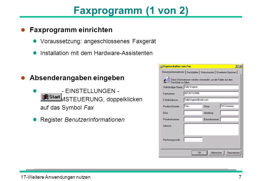 Faxprogramm (1 von 2) Faxprogramm einrichten Absenderangaben eingeben