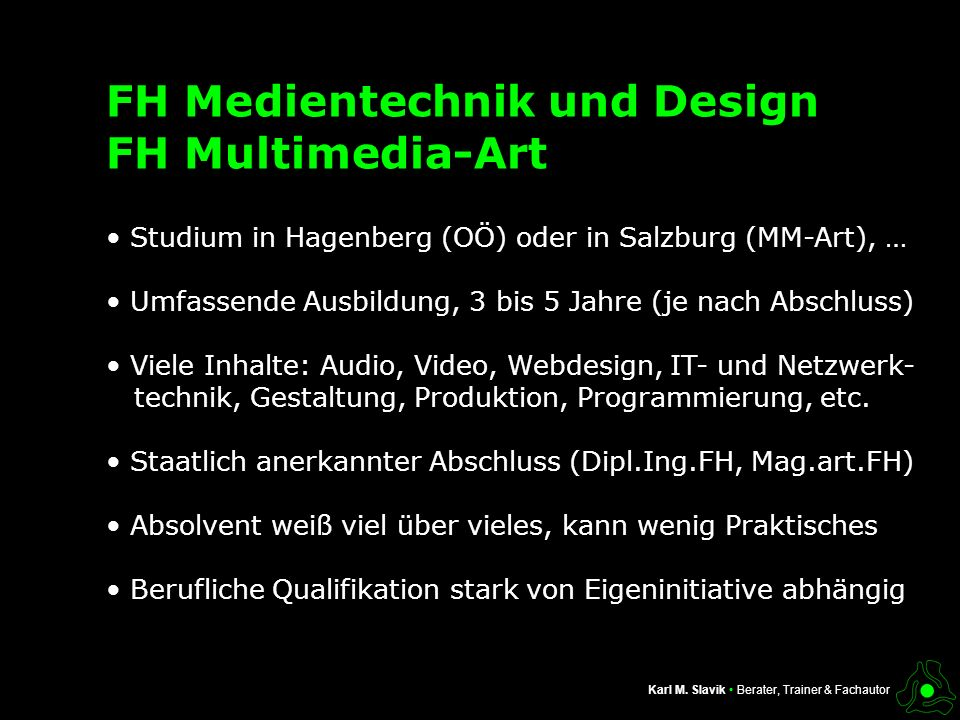 FH Medientechnik und Design FH Multimedia-Art