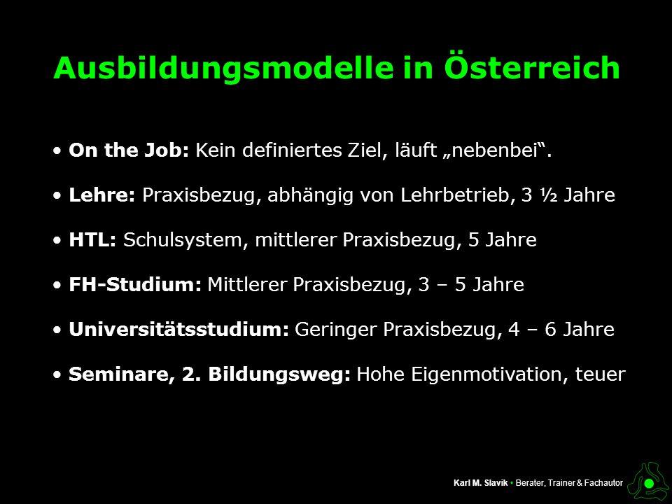 Ausbildungsmodelle in Österreich
