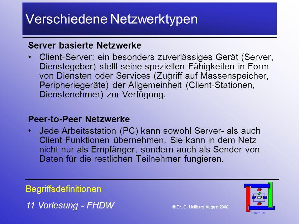 Verschiedene Netzwerktypen