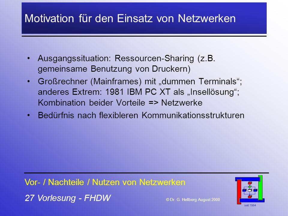 Motivation für den Einsatz von Netzwerken