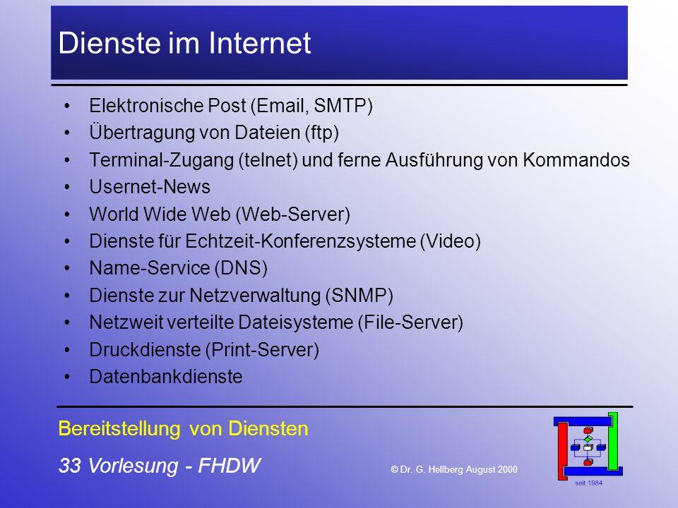 Dienste im Internet Bereitstellung von Diensten