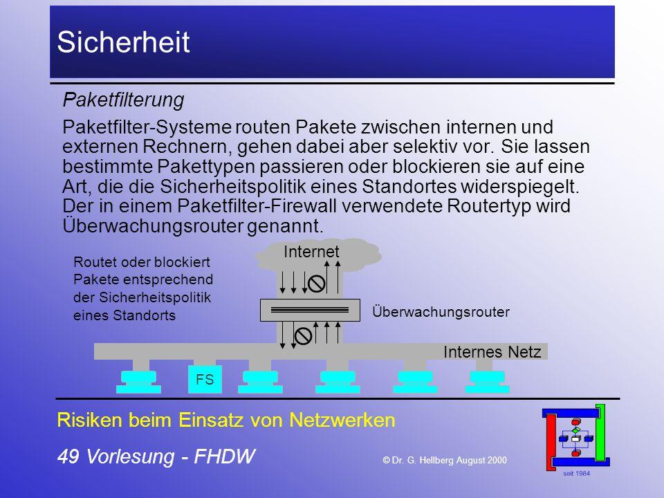 Sicherheit   Paketfilterung Risiken beim Einsatz von Netzwerken