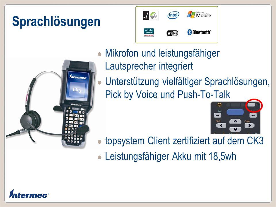 Sprachlösungen Mikrofon und leistungsfähiger Lautsprecher integriert