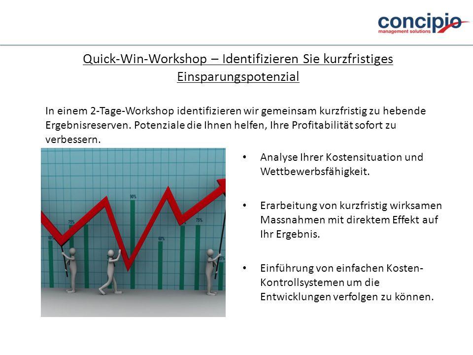 Quick-Win-Workshop – Identifizieren Sie kurzfristiges Einsparungspotenzial