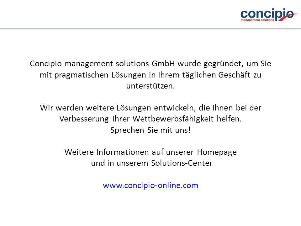 Concipio management solutions GmbH wurde gegründet, um Sie mit pragmatischen Lösungen in Ihrem täglichen Geschäft zu unterstützen.