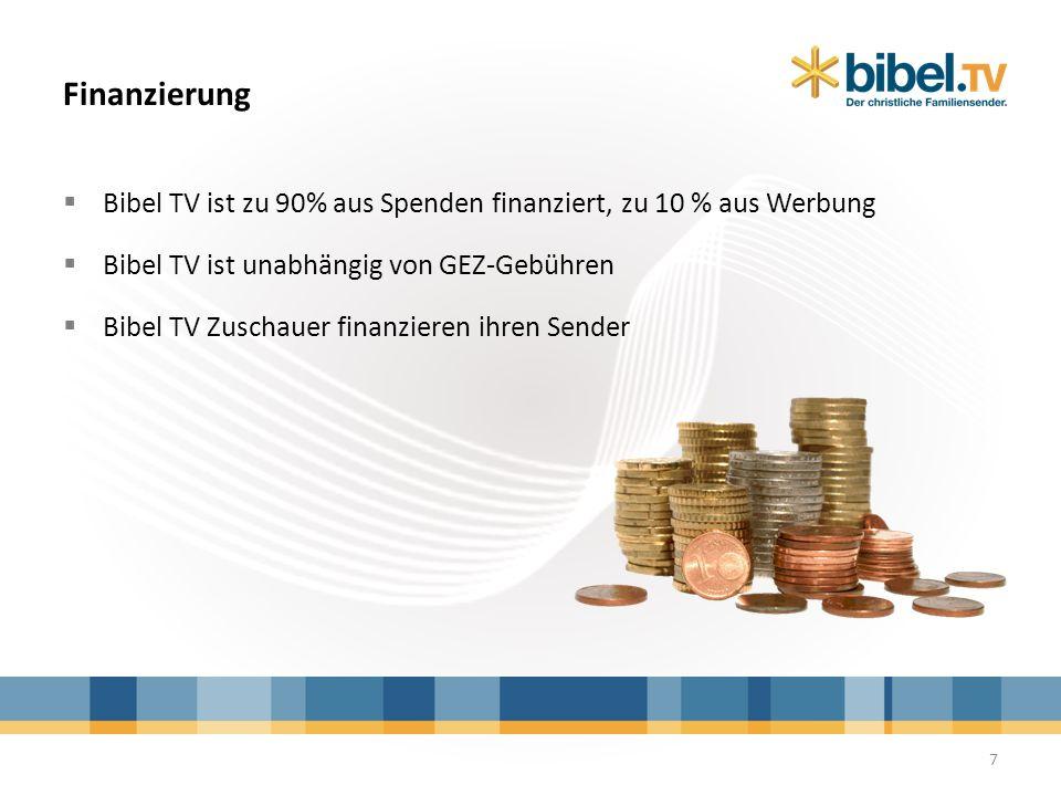 Finanzierung Bibel TV ist zu 90% aus Spenden finanziert, zu 10 % aus Werbung. Bibel TV ist unabhängig von GEZ-Gebühren.