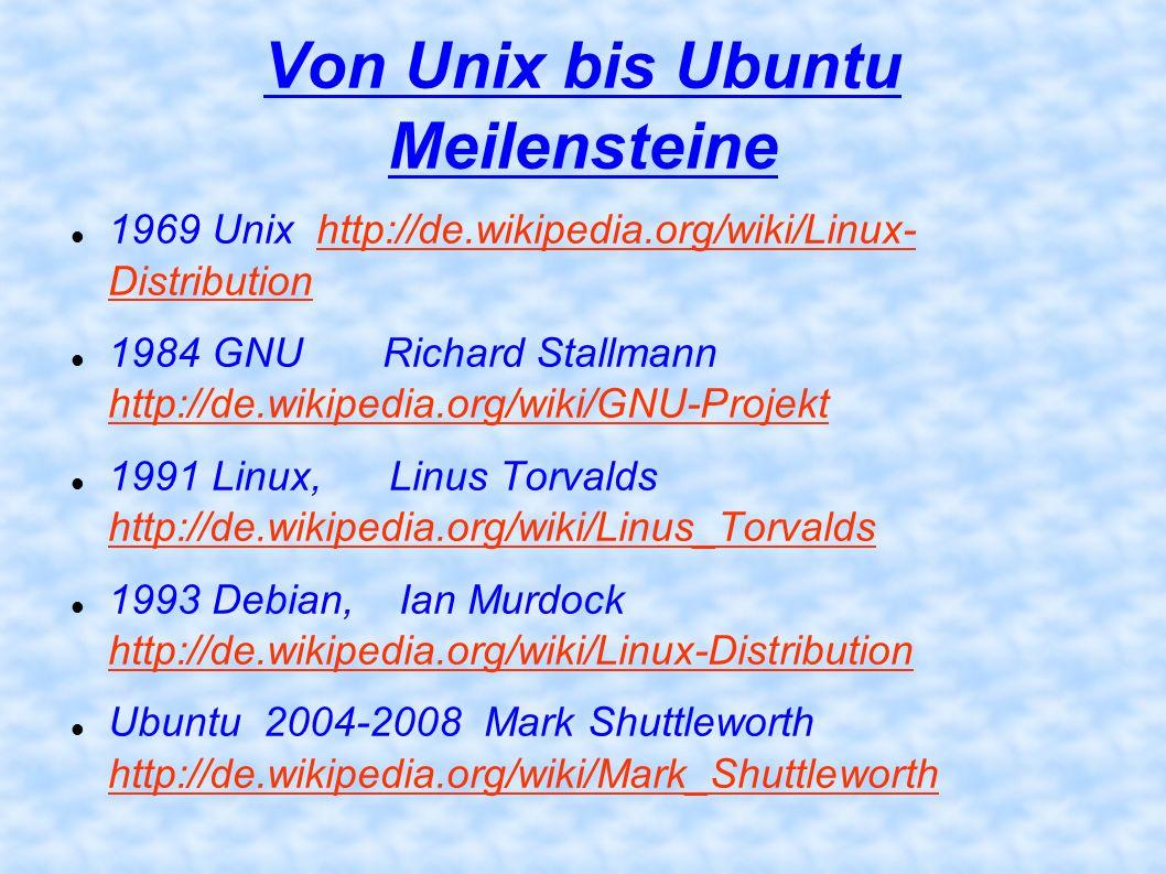 Von Unix bis Ubuntu Meilensteine