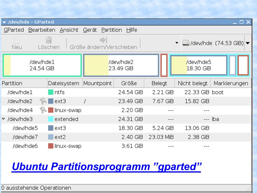 Ubuntu Partitionsprogramm gparted