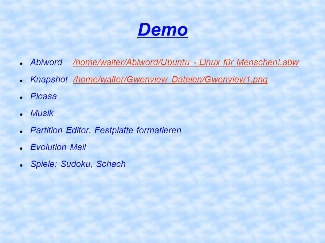 Demo Abiword /home/walter/Abiword/Ubuntu - Linux für Menschen!.abw