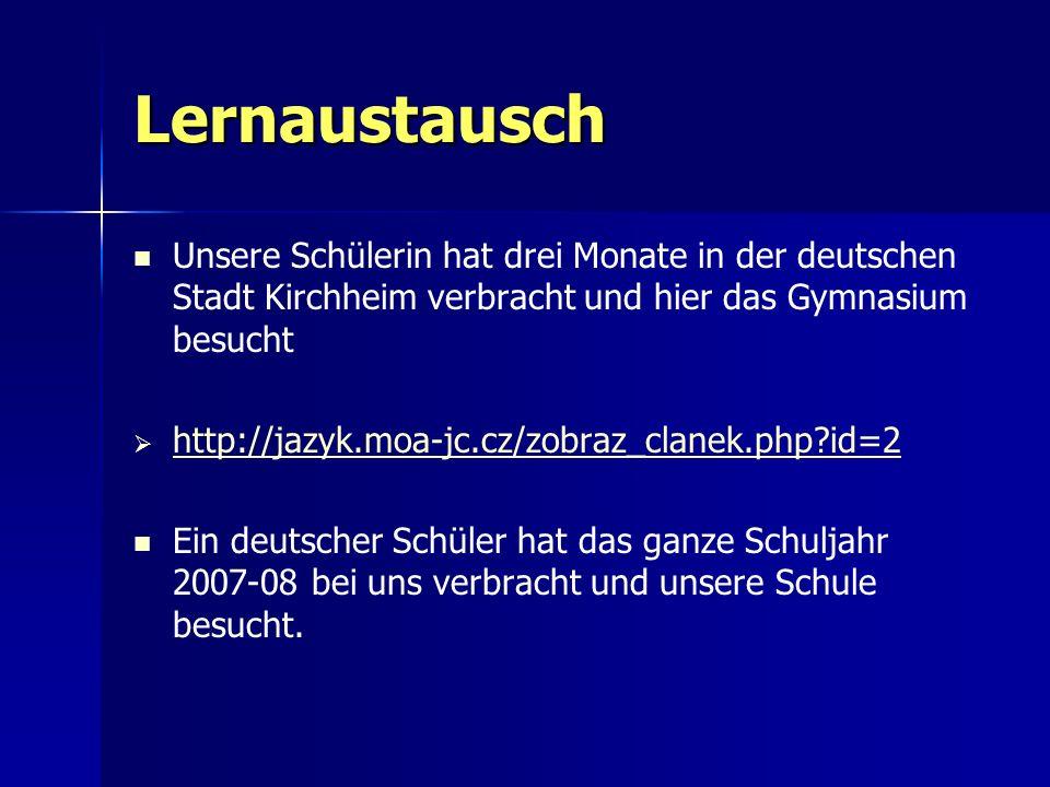 Lernaustausch Unsere Schülerin hat drei Monate in der deutschen Stadt Kirchheim verbracht und hier das Gymnasium besucht.