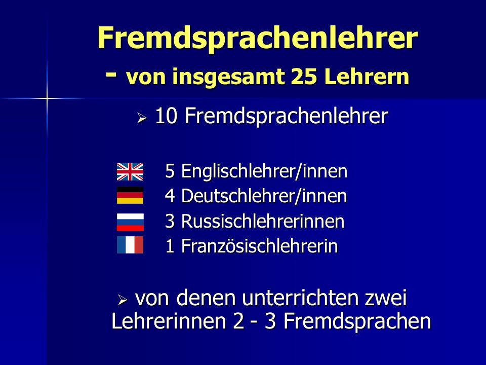 Fremdsprachenlehrer - von insgesamt 25 Lehrern