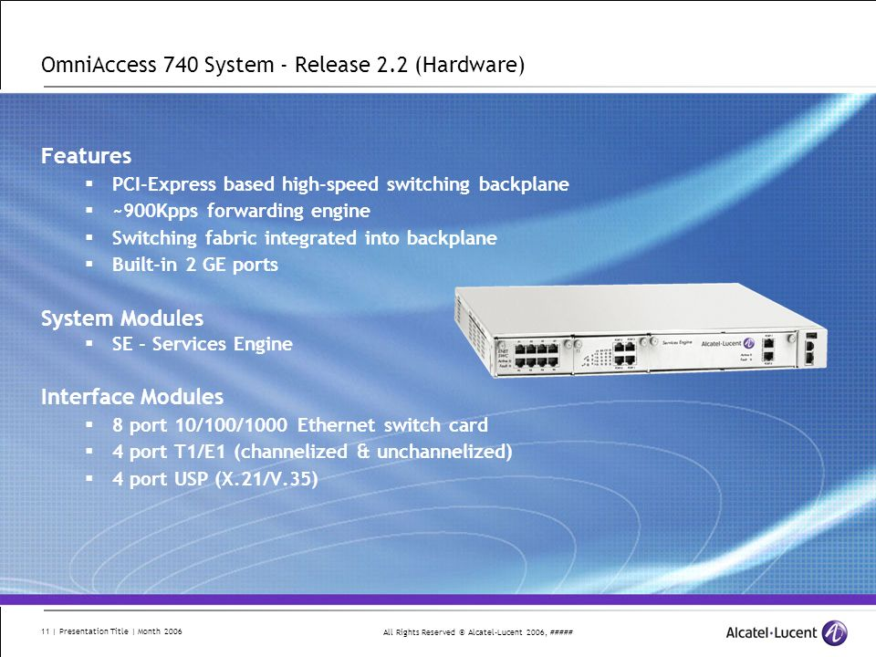 OmniAccess 740 System - Release 2.2 (Hardware)