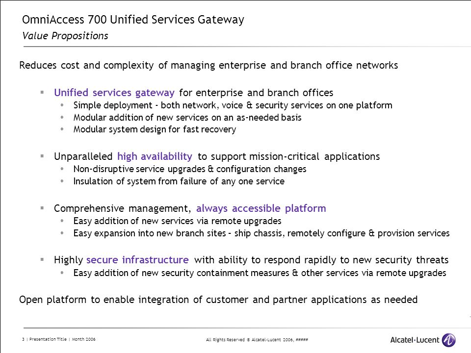 OmniAccess 700 Unified Services Gateway Value Propositions