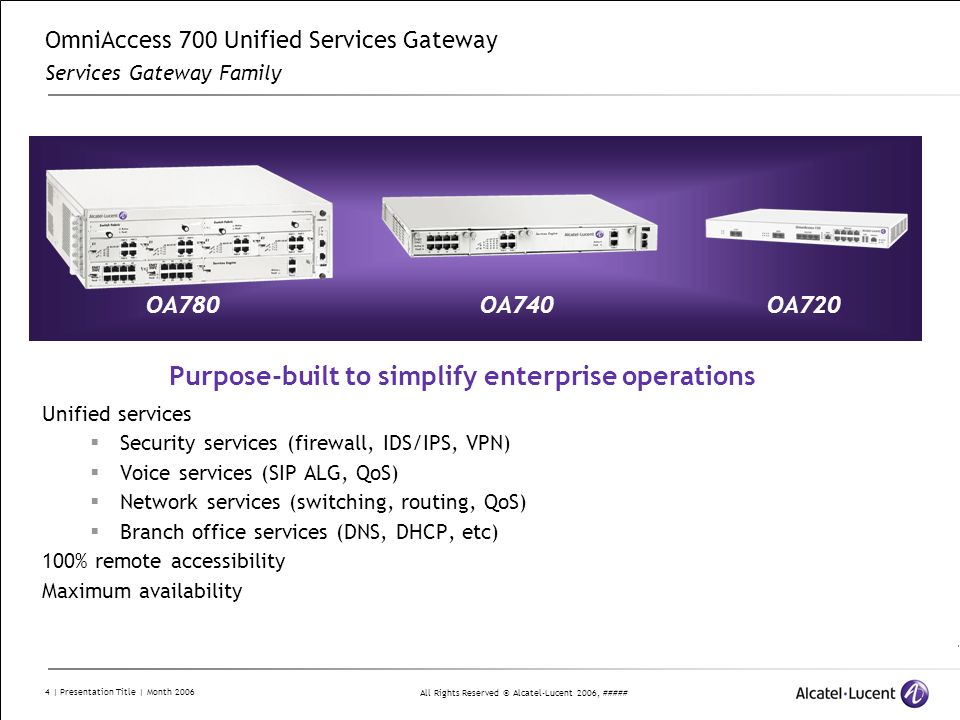 OmniAccess 700 Unified Services Gateway Services Gateway Family