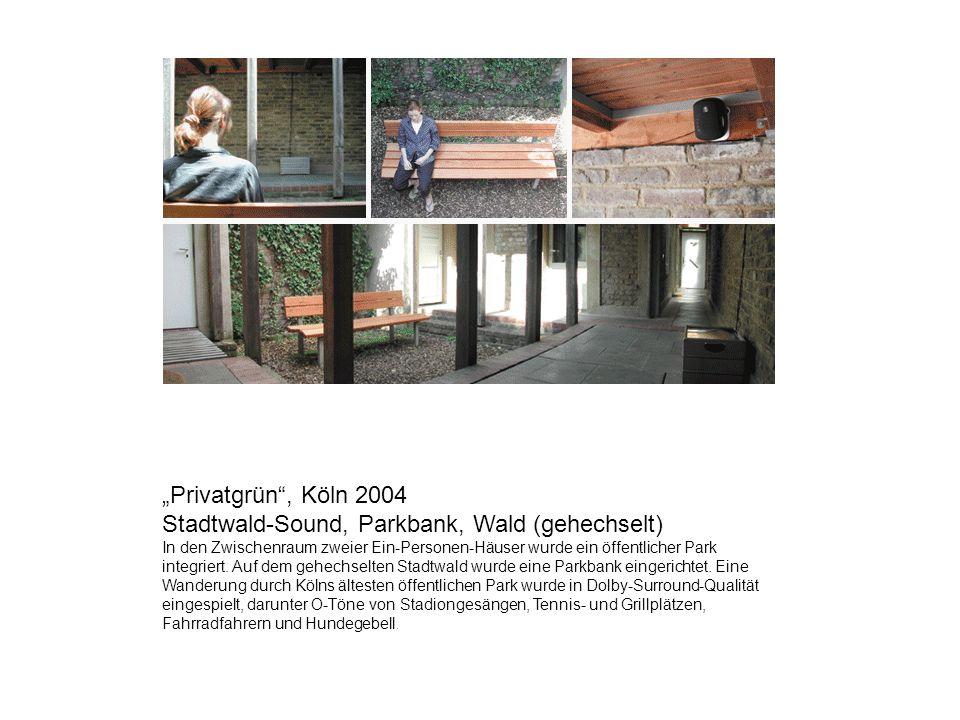 """""""Privatgrün , Köln 2004 Stadtwald-Sound, Parkbank, Wald (gehechselt)"""