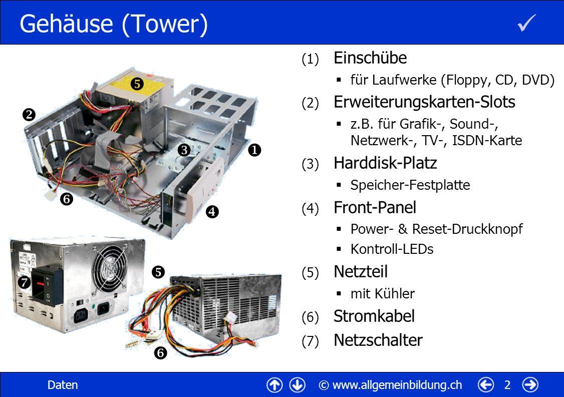  Gehäuse (Tower)          Einschübe Erweiterungskarten-Slots