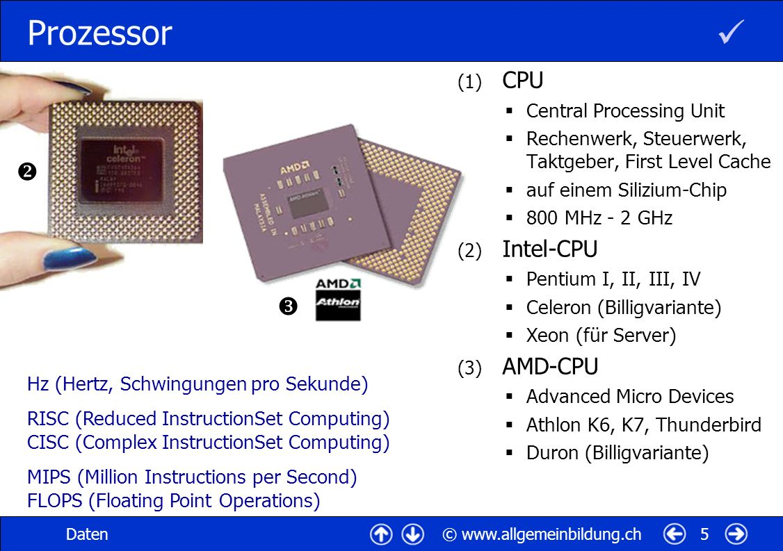  Prozessor   CPU Intel-CPU AMD-CPU Central Processing Unit