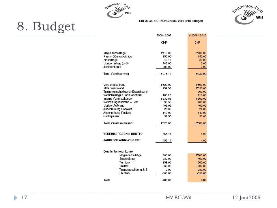8. Budget HV BC-Wil 12. Juni 2009