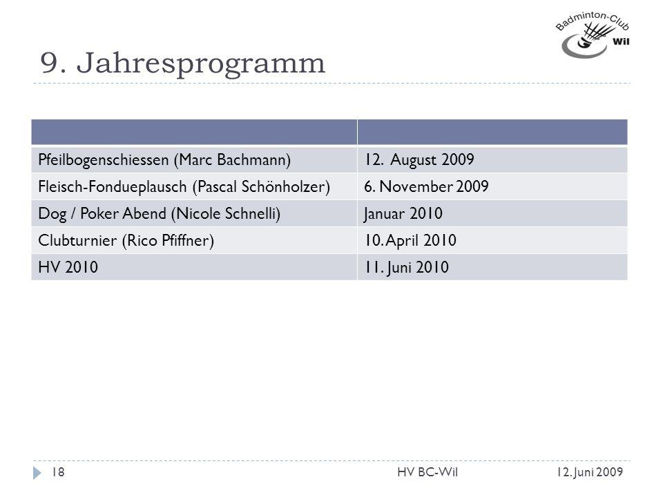 9. Jahresprogramm Pfeilbogenschiessen (Marc Bachmann) 12. August 2009