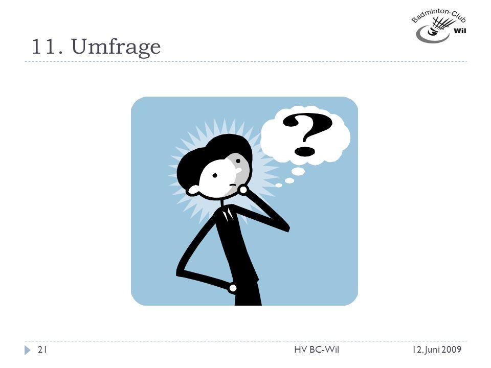 11. Umfrage HV BC-Wil 12. Juni 2009