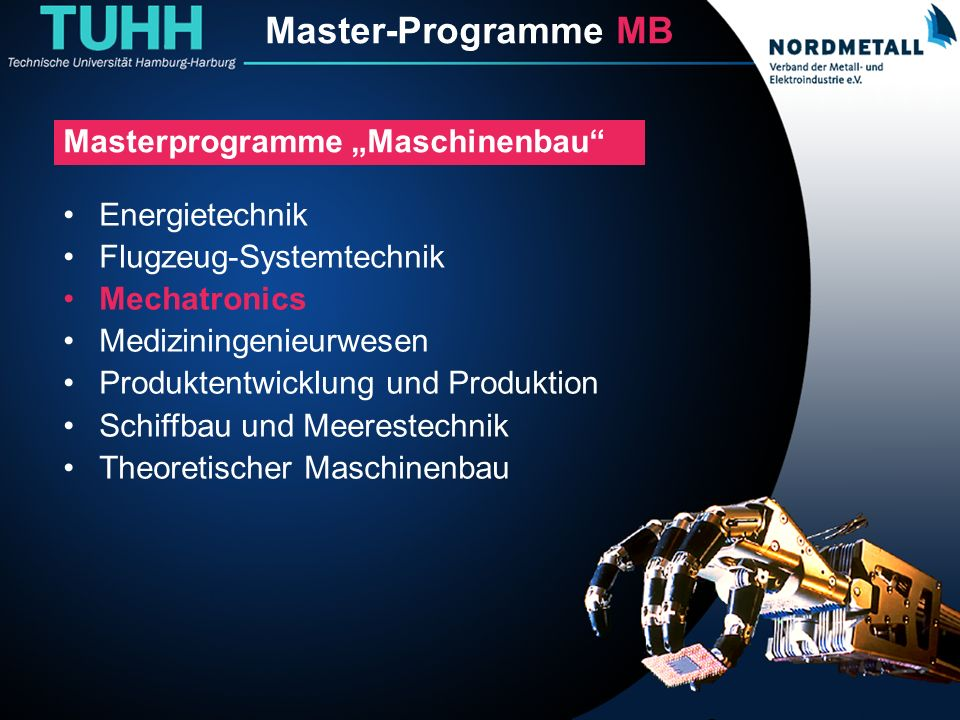 Master: Maschinenbau/Mechatronik (1)