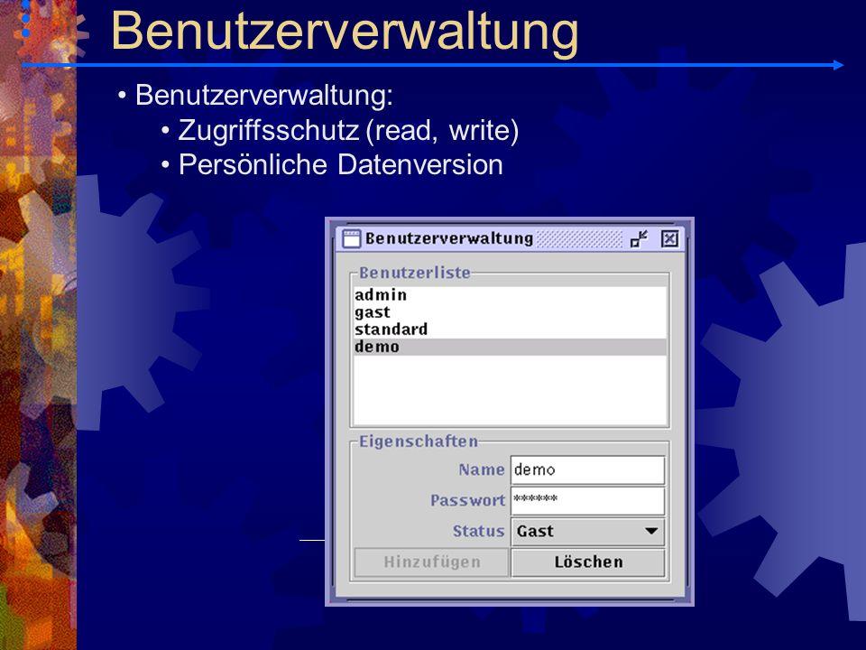 Benutzerverwaltung Benutzerverwaltung: Zugriffsschutz (read, write)