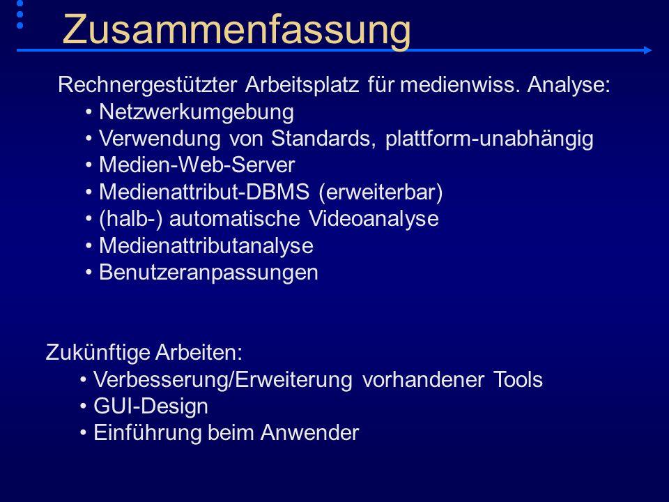 Zusammenfassung Rechnergestützter Arbeitsplatz für medienwiss. Analyse: Netzwerkumgebung. Verwendung von Standards, plattform-unabhängig.