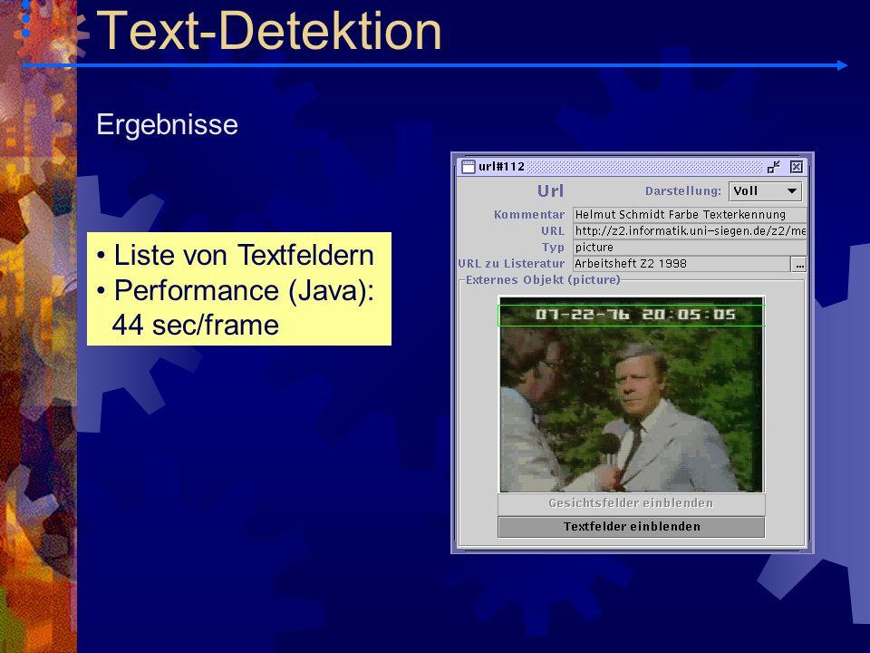 Text-Detektion Ergebnisse Liste von Textfeldern Performance (Java):