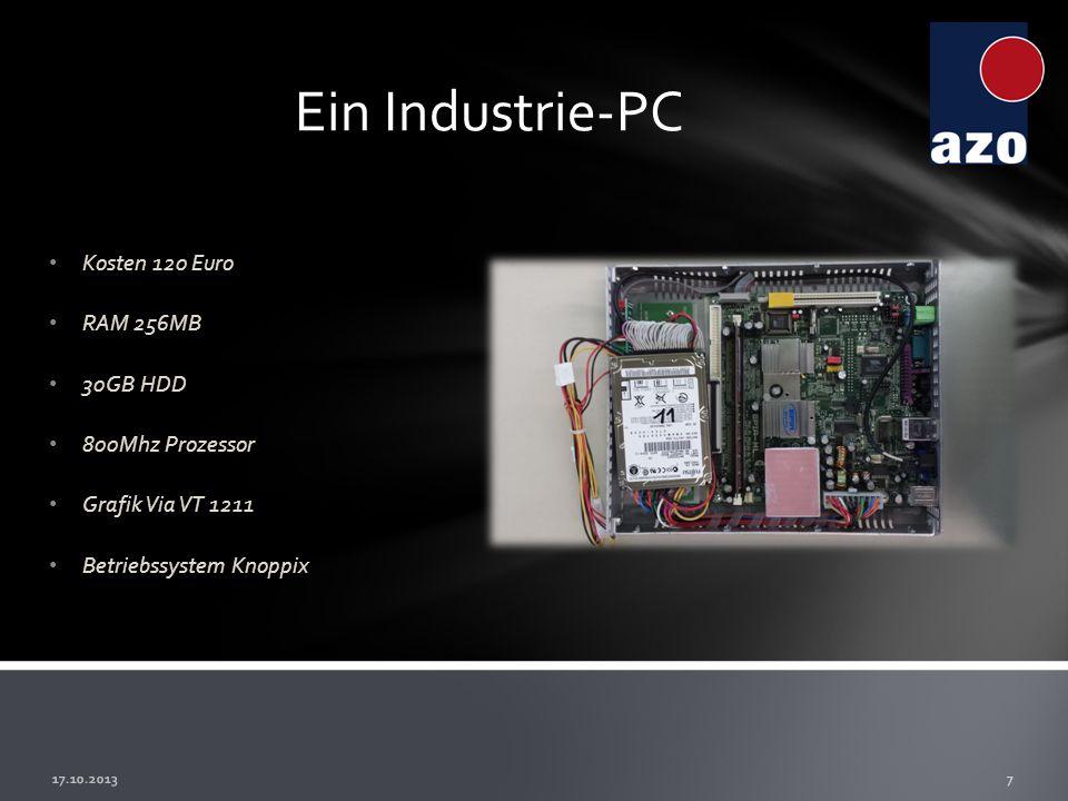 Ein Industrie-PC Kosten 120 Euro RAM 256MB 30GB HDD 800Mhz Prozessor