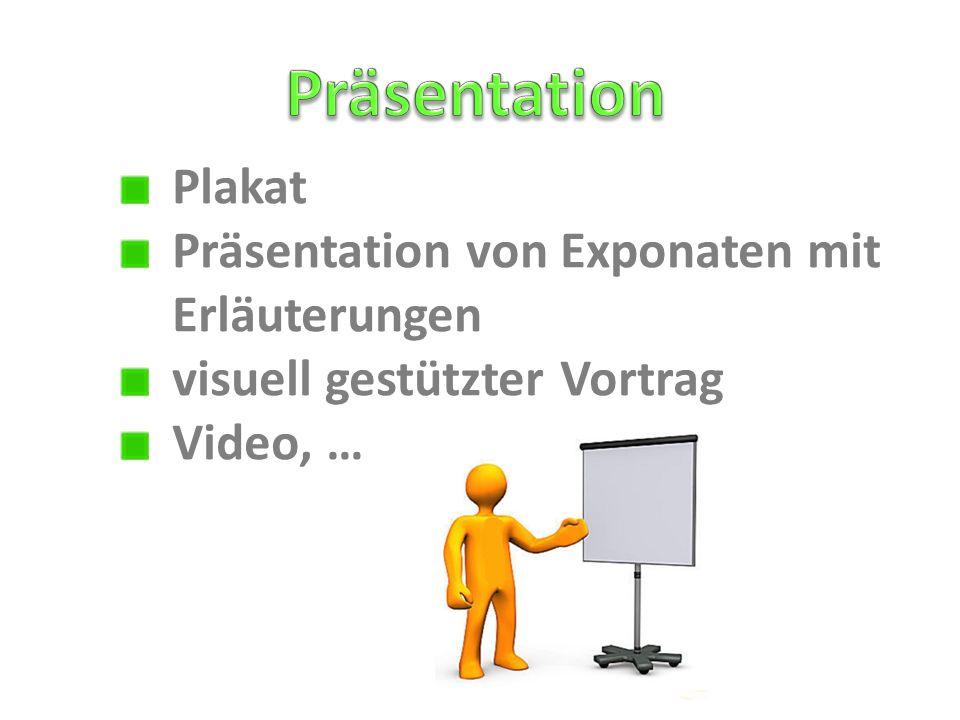 Präsentation Plakat Präsentation von Exponaten mit Erläuterungen