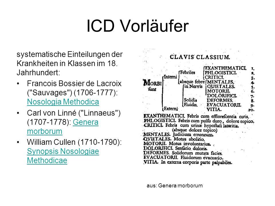 ICD Vorläufer systematische Einteilungen der Krankheiten in Klassen im 18. Jahrhundert: