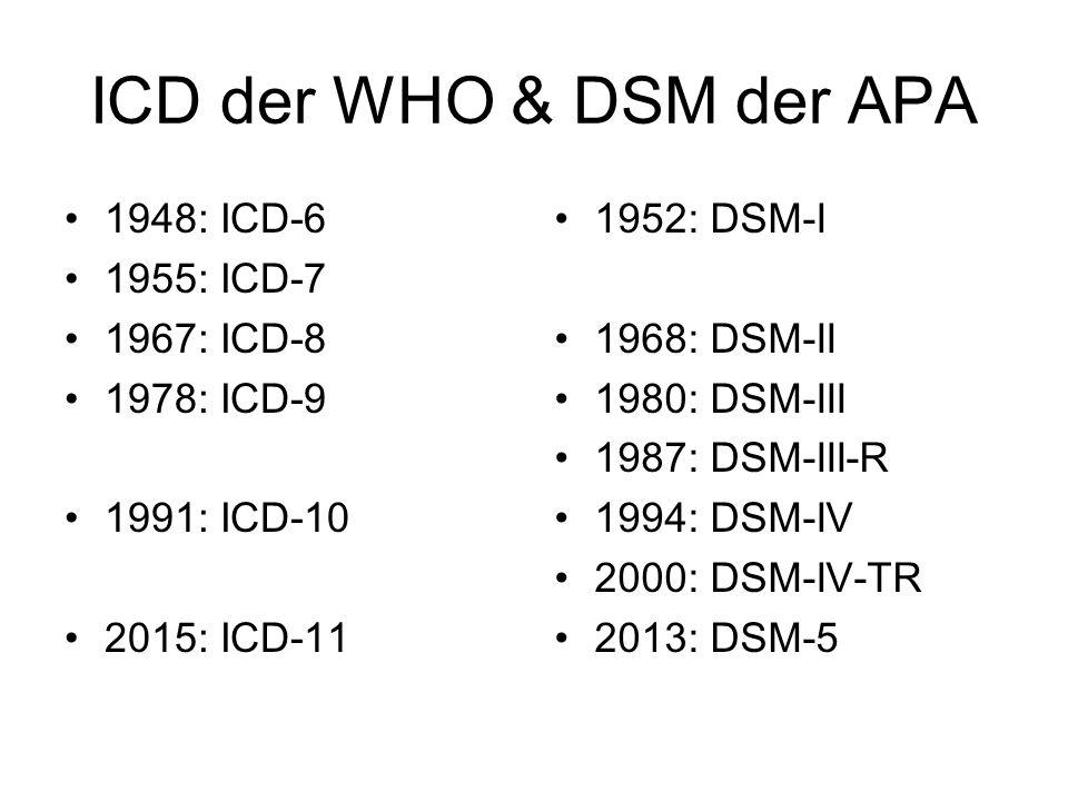 ICD der WHO & DSM der APA 1948: ICD-6 1955: ICD-7 1967: ICD-8