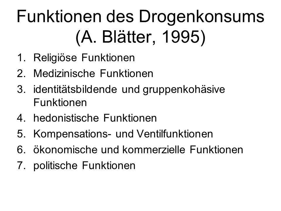 Funktionen des Drogenkonsums (A. Blätter, 1995)