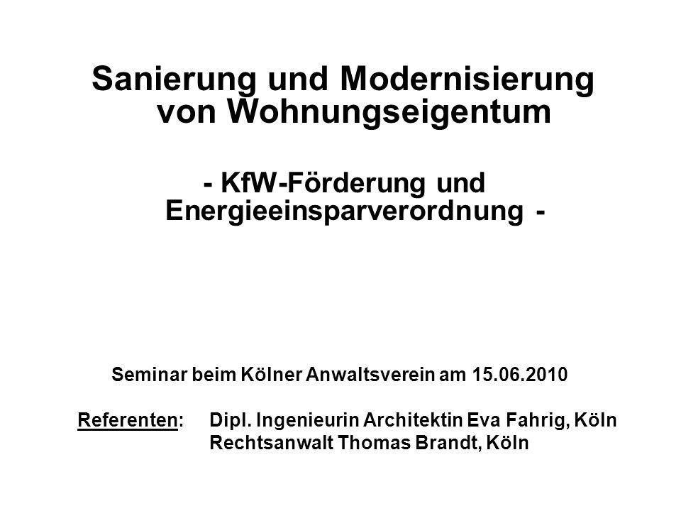 - KfW-Förderung und Energieeinsparverordnung -