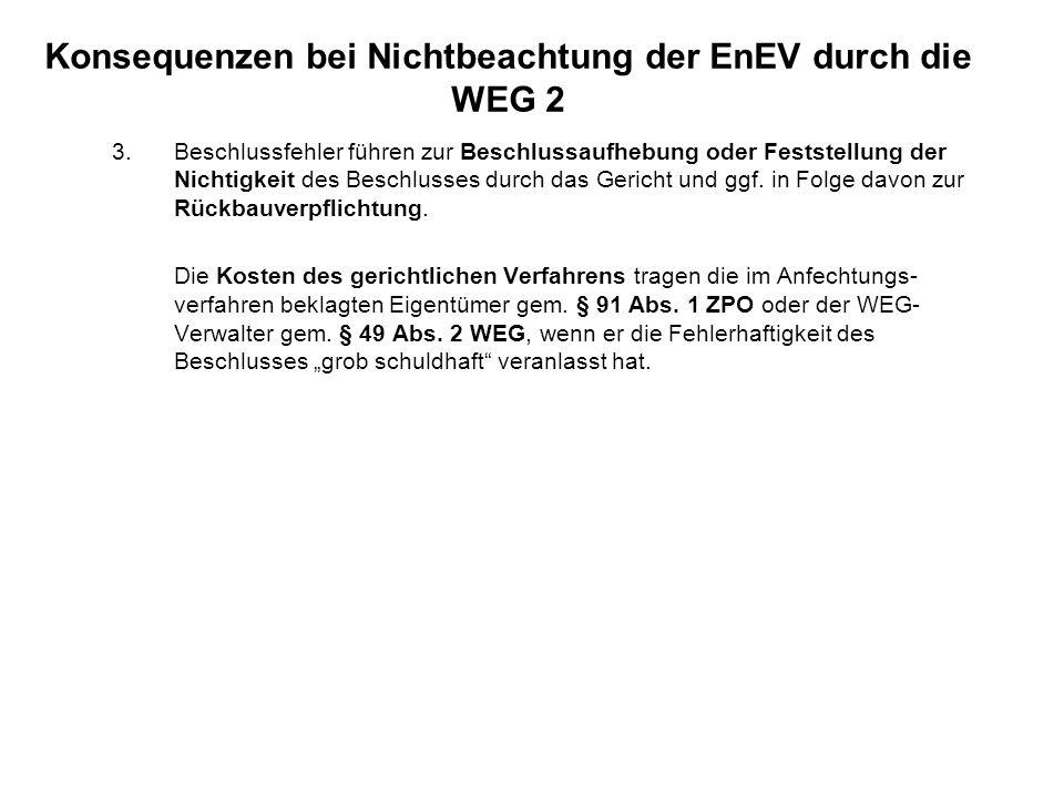 Konsequenzen bei Nichtbeachtung der EnEV durch die WEG 2