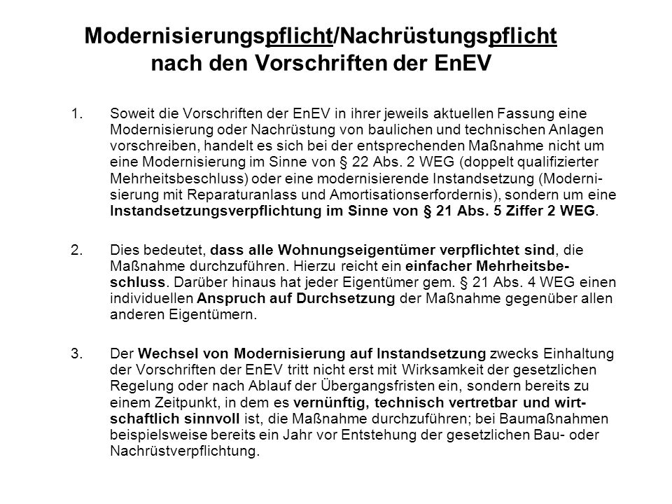 Modernisierungspflicht/Nachrüstungspflicht nach den Vorschriften der EnEV