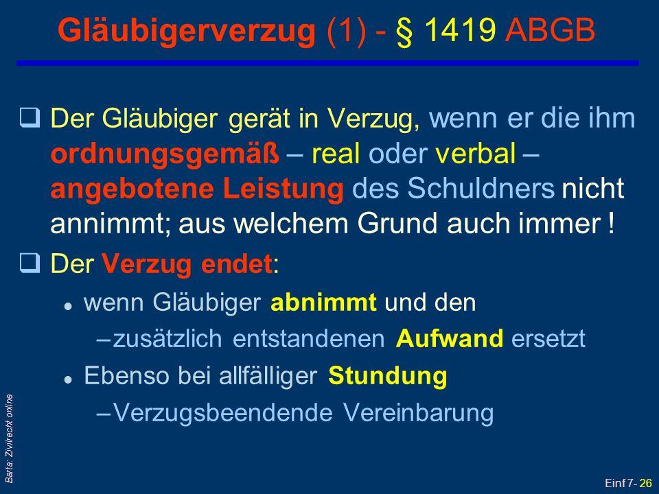 Gläubigerverzug (1) - § 1419 ABGB