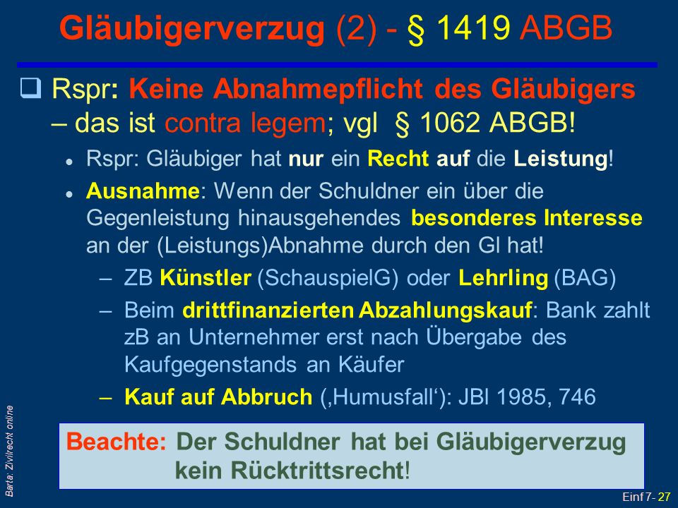 Gläubigerverzug (2) - § 1419 ABGB