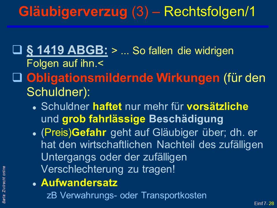 Gläubigerverzug (3) – Rechtsfolgen/1