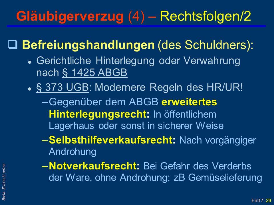 Gläubigerverzug (4) – Rechtsfolgen/2