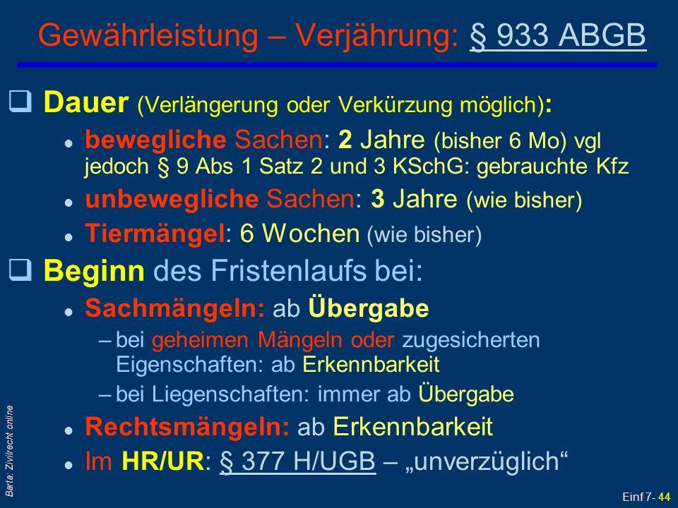 Gewährleistung – Verjährung: § 933 ABGB