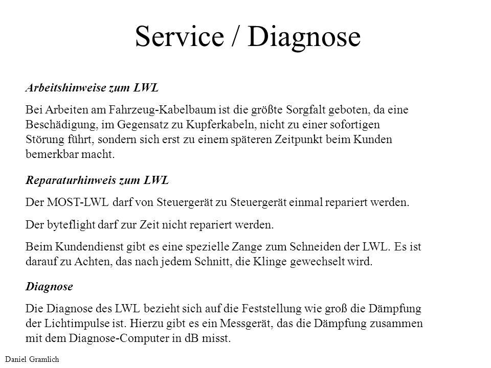 Service / Diagnose Arbeitshinweise zum LWL