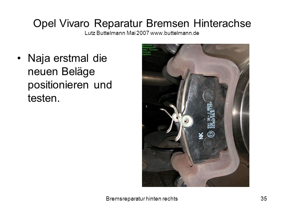 Bremsreparatur hinten rechts