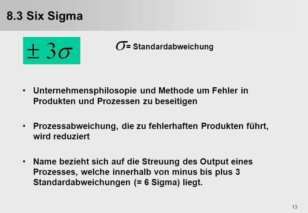 8.3 Six Sigma = Standardabweichung. Unternehmensphilosopie und Methode um Fehler in Produkten und Prozessen zu beseitigen.
