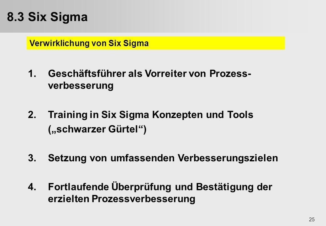 8.3 Six Sigma 9.3. Six Sigma. Verwirklichung von Six Sigma. 1. Geschäftsführer als Vorreiter von Prozess-verbesserung.